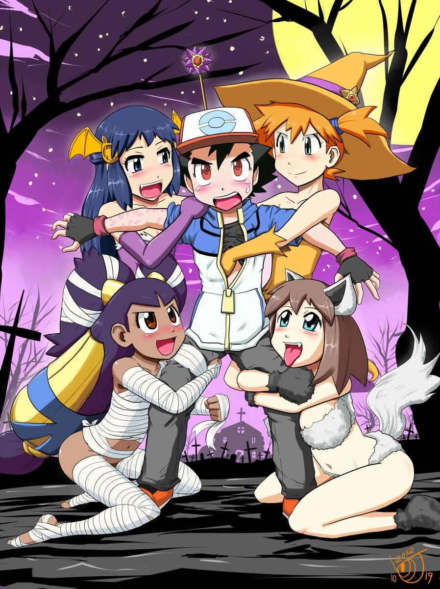 cofagrigus+gym leader+haruka (pokemon)+hikari (pokemon)+iris (pokemon)+kasumi+poochyena+satoshi (pokemon)+starmie+staryu+zubat